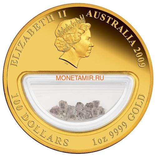 Австралия 100 долларов 2009 Сокровища Австралии Инкапсулированные Алмазы (Australia 100$ 2009 Treasures of Australia Diamonds 1oz Gold Proof Coin).Арт.K3,5G (фото, вид 2)