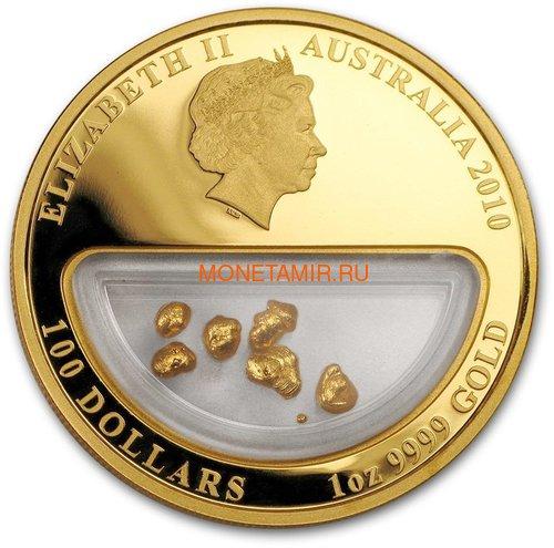 Австралия 100 долларов 2010 Сокровища Австралии Инкапсулированным Золотом (Australia 100$ 2010 Treasures of Australia Gold 1oz Gold Proof Coin).Арт.K3,5G (фото, вид 1)