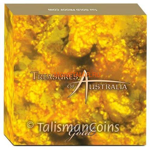 Австралия 100 долларов 2010 Сокровища Австралии Инкапсулированным Золотом (Australia 100$ 2010 Treasures of Australia Gold 1oz Gold Proof Coin).Арт.K3,5G (фото, вид 3)