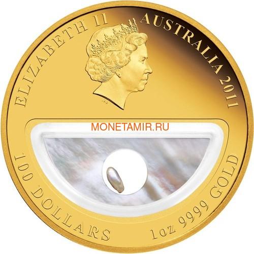 Австралия 100 долларов 2011 Сокровища Австралии Инкапсулированная Жемчужина (Australia 100$ 2011 Treasures of Australia Pearls 1oz Gold Proof Coin).Арт.K3,5G (фото, вид 2)
