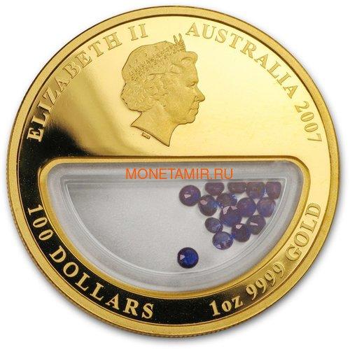 Австралия 100 долларов 2007 Сокровища Австралии Инкапсулированные Сапфиры (Australia 100$ 2007 Treasures of Australia Sapphires 1oz Gold Proof Coin).Арт.K3,5G (фото, вид 1)