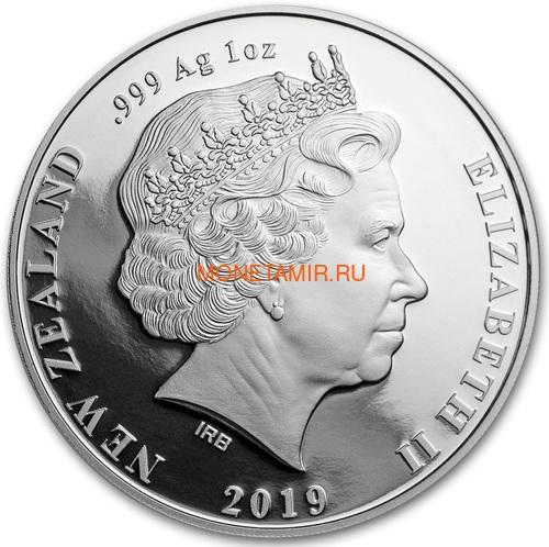 Новая Зеландия 5 долларов 2019 Птица Такахе (New Zealand 5$ 2019 North Island Takahe Silver Proof Coin).Арт.67 (фото, вид 1)