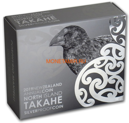 Новая Зеландия 5 долларов 2019 Птица Такахе (New Zealand 5$ 2019 North Island Takahe Silver Proof Coin).Арт.67 (фото, вид 3)