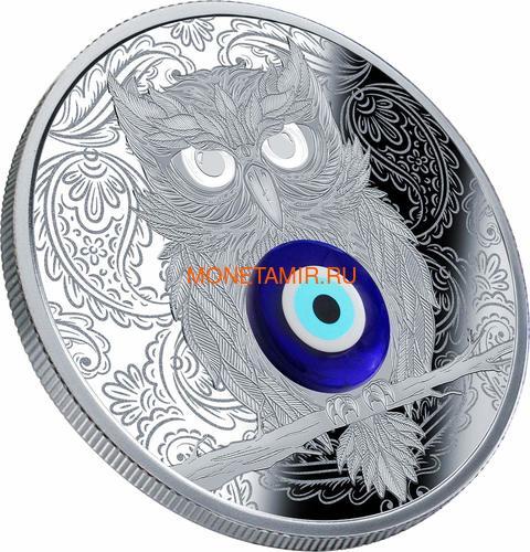 Ниуэ 1 доллар 2019 Сова Амулет (Niue 1$ 2019 Owl Amulet Silver Coin).Арт.67 (фото, вид 1)