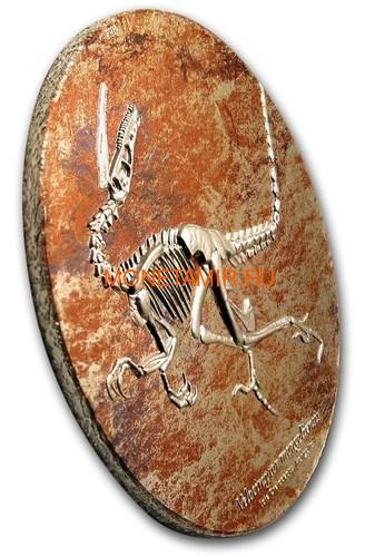 Монголия 2000 тугриков 2018 Велоцираптор (Mongolia 2000T 2018 Velociraptor 3 oz Silver Coin).Арт.60 (фото, вид 2)