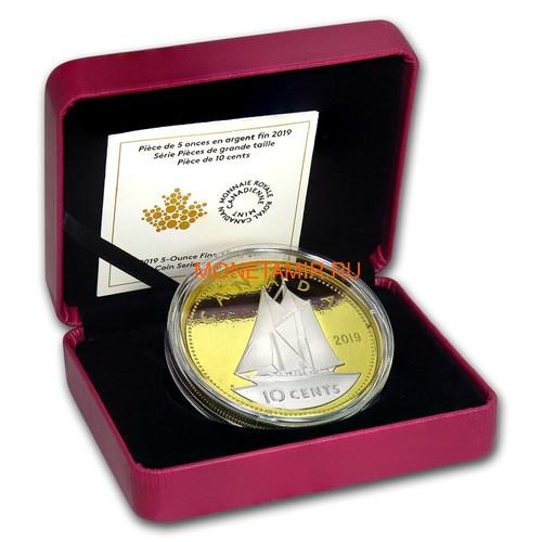 Канада 10 центов 2019 Шхуна Блюноуз серия Большие Монеты (Canada 10 Cent 2019 Big Coin Series Bluenose 5 oz Silver Coin).Арт.67 (фото, вид 3)