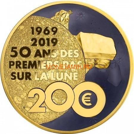 Франция 200 евро 2019 Высадка на Луну 50 лет Космос (France 200E 2019 Moon Landing 50th Anniversary 1 oz Gold Coin).Арт.67 (фото, вид 1)