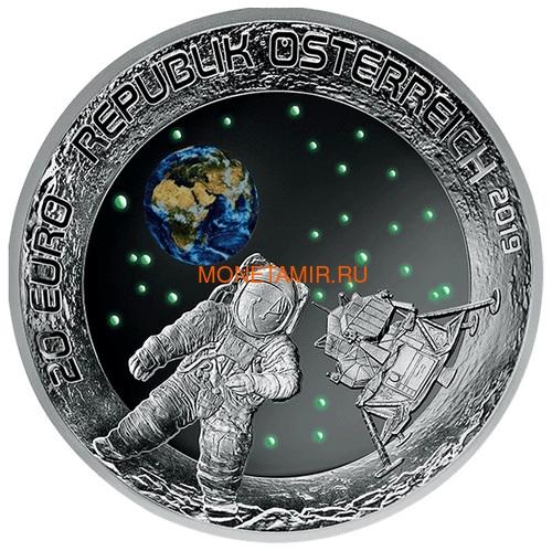 Австрия 20 евро 2019 Высадка на Луну 50 лет Космос Вогнутая Форма (Austria 20E 2019 Moon Landing 50th Anniversary Silver Concave Coin).Арт.67 (фото, вид 1)