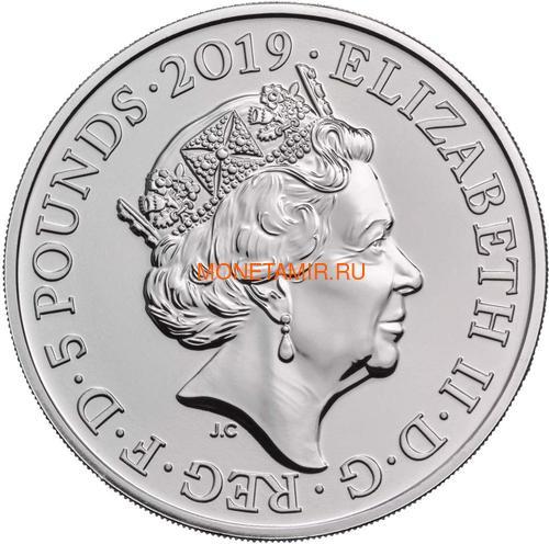 Великобритания 5 фунтов 2019 Королева Виктория 200 лет Корабль Паровоз Велосипед (GB 5£ 2019 200th Anniversary of the Birth of Queen Victoria Brilliant Uncirculated Coin) Блистер.Арт.67 (фото, вид 2)