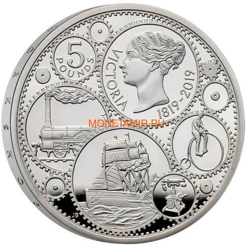 Великобритания 5 фунтов 2019 Королева Виктория 200 лет Корабль Паровоз Велосипед (GB 5£ 2019 200th Anniversary of the Birth of Queen Victoria Silver Proof Coin).Арт.67 (фото, вид 1)
