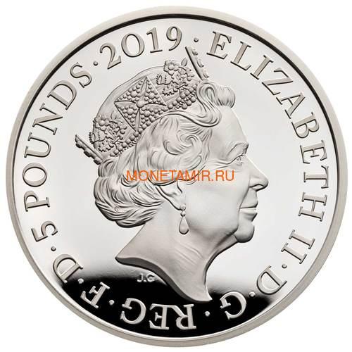Великобритания 5 фунтов 2019 Королева Виктория 200 лет Корабль Паровоз Велосипед (GB 5£ 2019 200th Anniversary of the Birth of Queen Victoria Silver Proof Coin).Арт.67 (фото, вид 2)