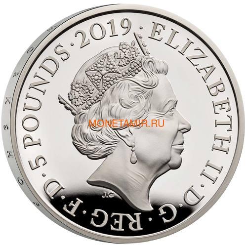 Великобритания 5 фунтов 2019 Королева Виктория 200 лет Корабль Паровоз Велосипед (GB 5£ 2019 200th Anniversary of the Birth of Queen Victoria Silver Proof Coin).Арт.67 (фото, вид 3)