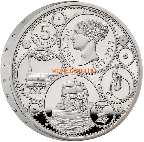 Великобритания 5 фунтов 2019 Королева Виктория 200 лет Корабль Паровоз Велосипед Пьедфорт (GB 5£ 2019 200th Anniversary of the Birth of Queen Victoria Silver Proof Piedfort Coin).Арт.67 (фото, вид 1)