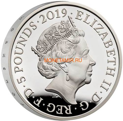 Великобритания 5 фунтов 2019 Королева Виктория 200 лет Корабль Паровоз Велосипед Пьедфорт (GB 5£ 2019 200th Anniversary of the Birth of Queen Victoria Silver Proof Piedfort Coin).Арт.67 (фото, вид 3)