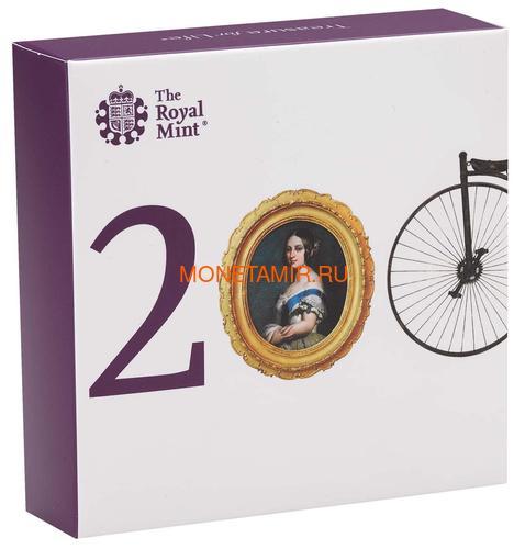 Великобритания 5 фунтов 2019 Королева Виктория 200 лет Корабль Паровоз Велосипед Пьедфорт (GB 5£ 2019 200th Anniversary of the Birth of Queen Victoria Silver Proof Piedfort Coin).Арт.67 (фото, вид 5)