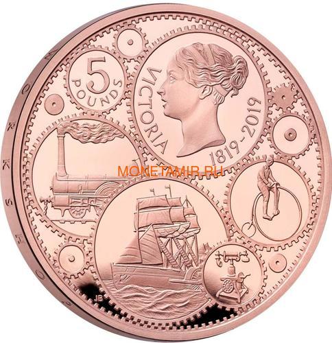 Великобритания 5 фунтов 2019 Королева Виктория 200 лет Корабль Паровоз Велосипед (GB 5£ 2019 200th Anniversary of the Birth of Queen Victoria Gold Proof Coin).Арт.67 (фото, вид 1)