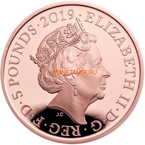 Великобритания 5 фунтов 2019 Королева Виктория 200 лет Корабль Паровоз Велосипед (GB 5£ 2019 200th Anniversary of the Birth of Queen Victoria Gold Proof Coin).Арт.67 (фото, вид 2)