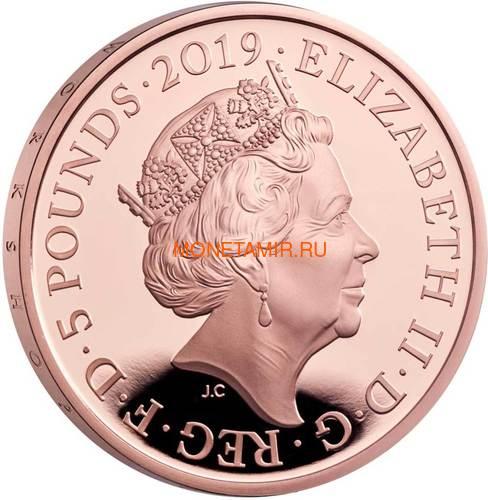 Великобритания 5 фунтов 2019 Королева Виктория 200 лет Корабль Паровоз Велосипед (GB 5£ 2019 200th Anniversary of the Birth of Queen Victoria Gold Proof Coin).Арт.67 (фото, вид 3)