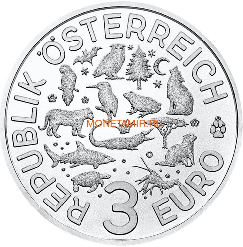 Австрия 3 евро 2019 Выдра (Colourful Creatures The Otter Austria 3 euro 2019).Арт.67 (фото, вид 1)