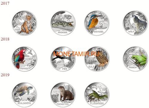 Австрия 3 евро 2019 Выдра (Colourful Creatures The Otter Austria 3 euro 2019).Арт.67 (фото, вид 2)