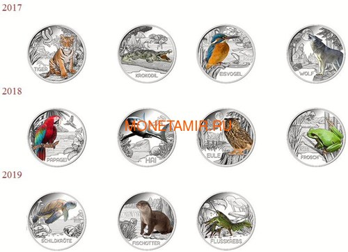 Австрия 3 евро 2019 Выдра (Colourful Creatures The Otter Austria 3 euro 2019).Арт.67 (фото, вид 2)