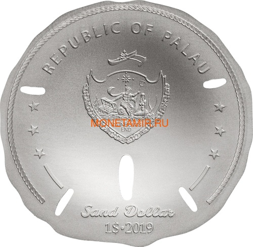 Палау 1 доллар 2019 Песочный Доллар II (Palau 1$ 2019 Sand Dollar II).Арт.67 (фото, вид 1)