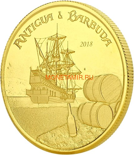 Антигуа и Барбуда 10 долларов 2018 Корабль Рамраннер (Antigua&Barbuda 10$ 2018 Ship Rum Runner 1Oz Gold Coin).Арт.67 (фото, вид 1)