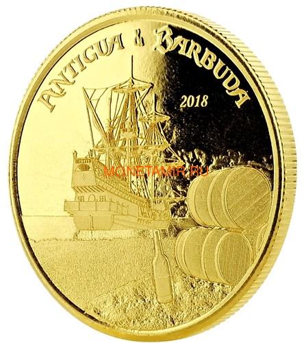 Антигуа и Барбуда 10 долларов 2018 Корабль Рамраннер (Antigua&Barbuda 10$ 2018 Ship Rum Runner 1Oz Gold Coin).Арт.67 (фото, вид 2)