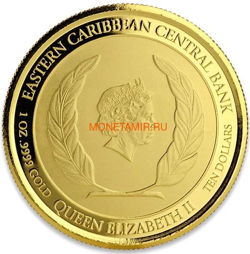 Антигуа и Барбуда 10 долларов 2018 Корабль Рамраннер (Antigua&Barbuda 10$ 2018 Ship Rum Runner 1Oz Gold Coin).Арт.67 (фото, вид 3)
