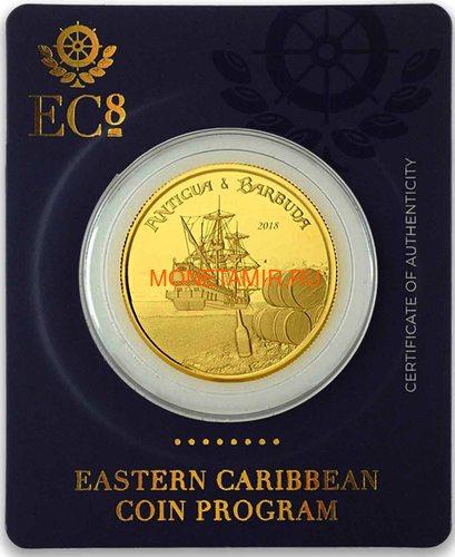 Антигуа и Барбуда 10 долларов 2018 Корабль Рамраннер (Antigua&Barbuda 10$ 2018 Ship Rum Runner 1Oz Gold Coin).Арт.67 (фото, вид 4)