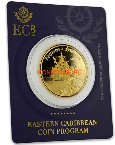 Антигуа и Барбуда 10 долларов 2018 Корабль Рамраннер (Antigua&Barbuda 10$ 2018 Ship Rum Runner 1Oz Gold Coin).Арт.67 (фото, вид 5)