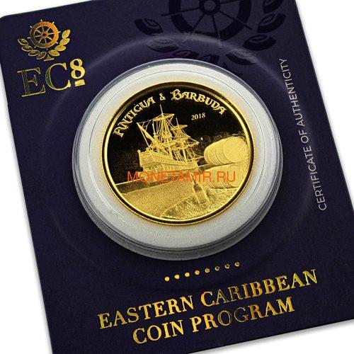 Антигуа и Барбуда 10 долларов 2018 Корабль Рамраннер (Antigua&Barbuda 10$ 2018 Ship Rum Runner 1Oz Gold Coin).Арт.67 (фото, вид 6)