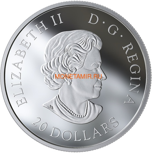 Канада 20 долларов 2019 Выдра Животные Канады (Canada 20$ 2019 Canadian Fauna The Otter Silver Coin).Арт.67 (фото, вид 1)