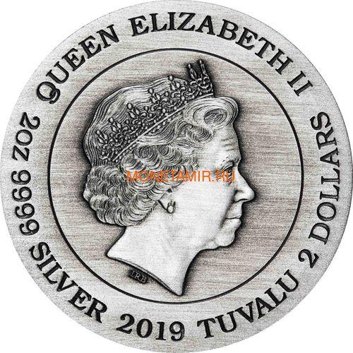 Тувалу 2 доллара 2019 Чужой НЛО Космос (Tuvalu 2$ 2019 Alien 40th Anniversary 2oz Silver Antiqued Coin).Арт.67 (фото, вид 1)