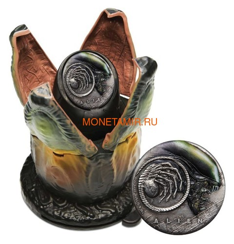 Тувалу 2 доллара 2019 Чужой НЛО Космос (Tuvalu 2$ 2019 Alien 40th Anniversary 2oz Silver Antiqued Coin).Арт.67 (фото, вид 2)
