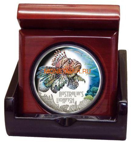 Тувалу 1 доллар 2019 Рыба Крылатка серия Смертельно Опасные (Tuvalu 1$ 2019 Deadly Dangerous LionFish 1Oz Silver Coin).Арт.67 (фото, вид 2)