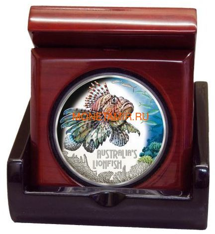 Тувалу 1 доллар 2019 Рыба Крылатка серия Смертельно Опасные (Tuvalu 1$ 2019 Deadly and Dangerous LionFish 1Oz Silver Coin).Арт.92 (фото, вид 2)