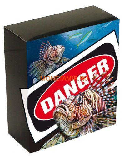 Тувалу 1 доллар 2019 Рыба Крылатка серия Смертельно Опасные (Tuvalu 1$ 2019 Deadly and Dangerous LionFish 1Oz Silver Coin).Арт.92 (фото, вид 3)