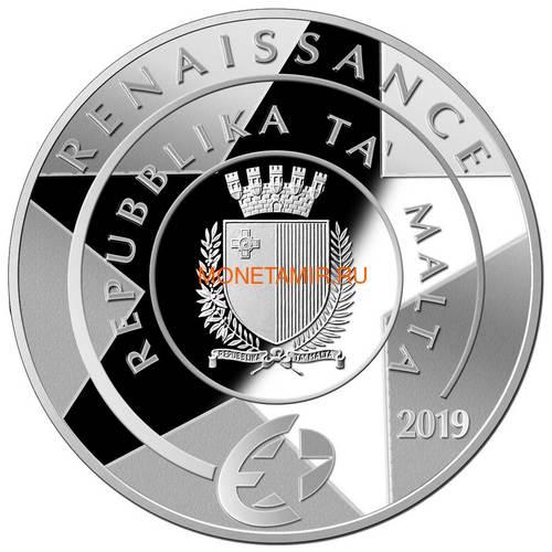 Мальта 10 евро 2019 Корабль Гран Карракка Ордена Святого Иоанна Сант-Анна (Malta 10E 2019 Sant' Anna Gran Carracca Order of St.John coin silver).Арт.000414457898/67 (фото, вид 1)