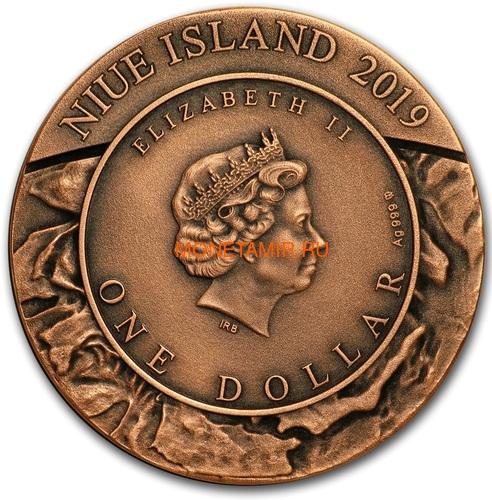Ниуэ 1 доллар 2019 Метеоритный Кратер Апхивал (Niue 1$ 2019 Upheaval Meteorite Crater Coin Silver).Арт.65 (фото, вид 3)