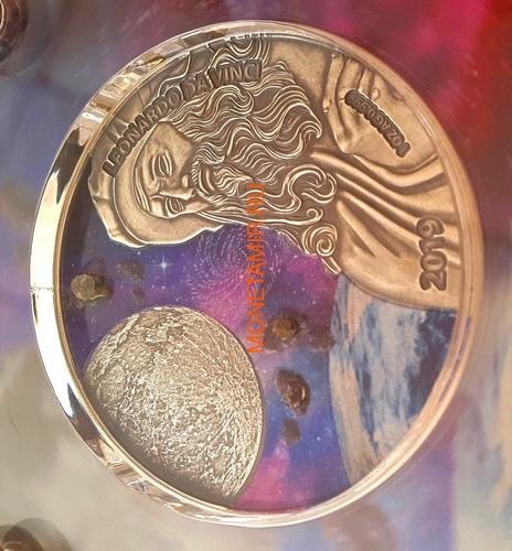 Гана 5 седи 2019 Леонардо да Винчи Вселенная Космос Метеориты (Ghana 5 cedis 2019 Leonardo da Vinci Space Meteorite Northwest Africa 1oz Silver Coin).Арт.65 (фото, вид 1)