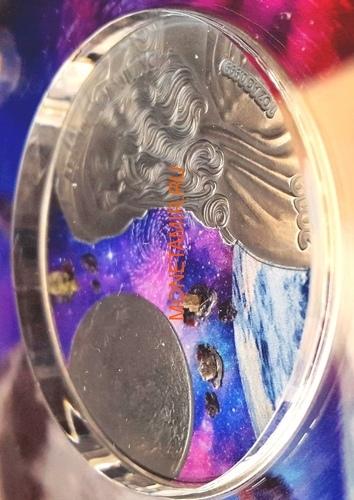 Гана 5 седи 2019 Леонардо да Винчи Вселенная Космос Метеориты (Ghana 5 cedis 2019 Leonardo da Vinci Space Meteorite Northwest Africa 1oz Silver Coin).Арт.65 (фото, вид 2)