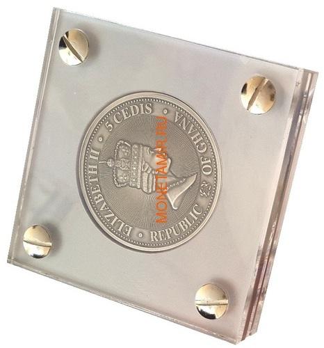 Гана 5 седи 2019 Леонардо да Винчи Вселенная Космос Метеориты (Ghana 5 cedis 2019 Leonardo da Vinci Space Meteorite Northwest Africa 1oz Silver Coin).Арт.65 (фото, вид 4)