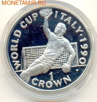 Чемпионат мира - Италия 1990. Вратарь. Гибралтар 1 крона 1990. (фото)