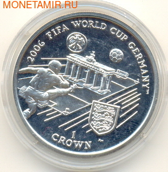 Остров Мэн 1 крона 2005.Чемпионат мира по футболу - ФИФА 2006 Германия.Арт.000148607616/60