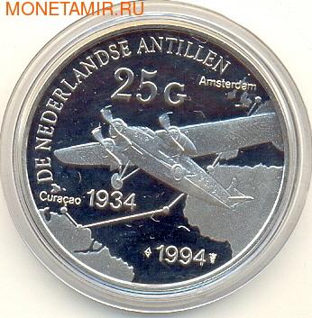 Нидерландские Антильские Острова 25 гульденов 1994. Самолет (фото)