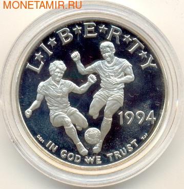Футболисты с мячом. Соединенные Штаты Америки 1 доллар 1994. (фото)