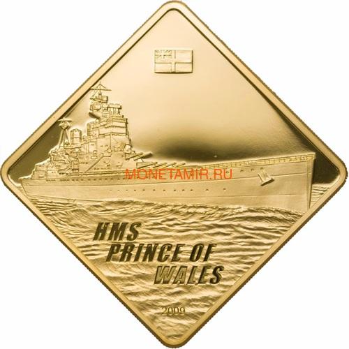 Палау 500 долларов 2009 Линкор Принц Уэльский Боевые Корабли (Palau 500$ 2009 HMS Prince of Wales Battleships 2,5oz Gold).Арт.60 (фото)