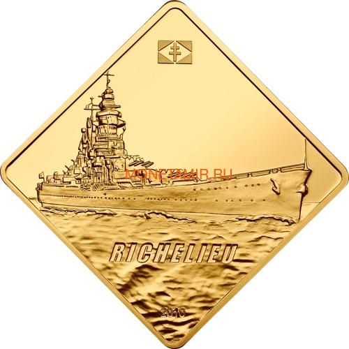 Палау 500 долларов 2010 Линкор Ришелье Боевые Корабли (Palau 500$ 2010 Richelieu Battleships 2,5oz Gold).Арт.60 (фото)