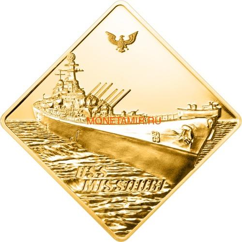 Палау 500 долларов 2008 Линкор Миссури Боевые Корабли (Palau 500$ 2008 USS Missouri Battleships 2,5oz Gold).Арт.60 (фото)